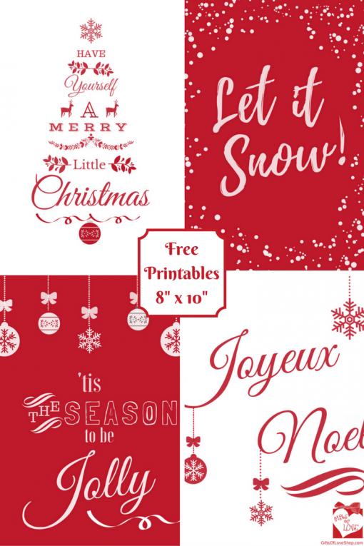 Red Christmas Printable Posters
